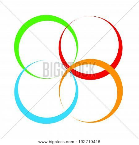 Shape With Overlapping Circles Motif. Geometric Intersecting Circles, Rings Abstract Icon