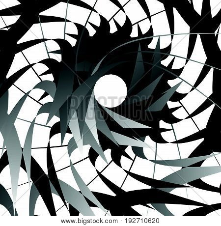 Abstract Concentric Element With Radial Lines. Circular Spiral Pattern