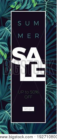 Dark tropical background with jungle plants. Floral vector sale design with green sabal palm and monstera leaves. Vector illustration.