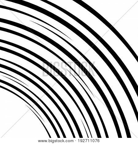 Curved Lines Element In Clipping Path. Curved Lines, Stripes Through Artboard