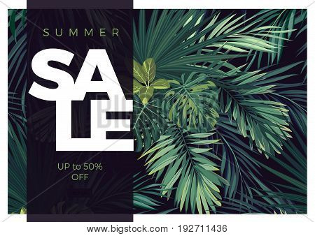 Dark tropical typography sale design with green jungle palm leaves. Vector illustration.