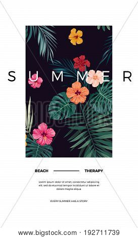 Tropical postcard design with bright hibiscus flowers and exotic palm leaves on dark background. Space for text. Vector illustration.
