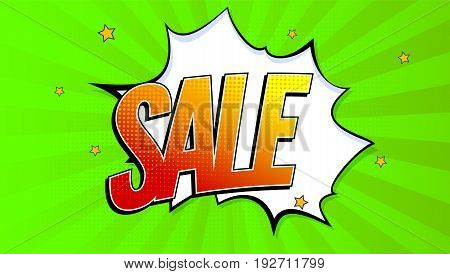 Sale pop art splash background, explosion in comics book style. Advertising signboard, price reduction, sale with halftone dots, cloud beams on green backdrop. Vector template for ad, covers, posters.