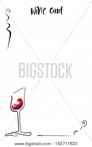 Silhouette wine glass color red wine. Vector 10 eps.