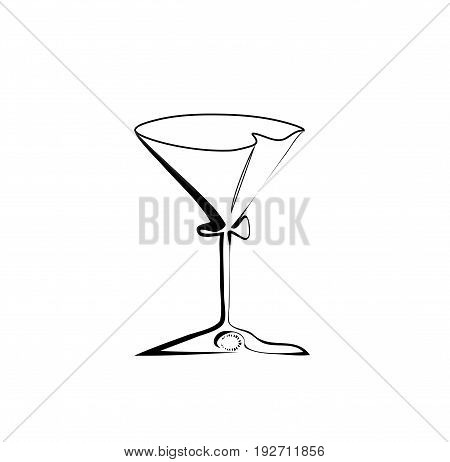 The stylized wine glass for martini isolated