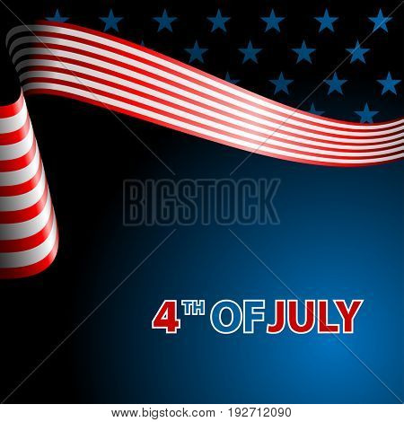 July fourth, independence day. Flying flag of the USA. illustration