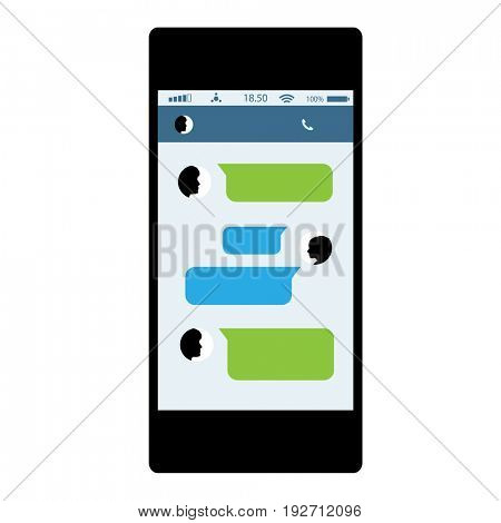 Social network concept. Messages in Chat of Social Networks of Internet. Mobile Phone in white background.illustration
