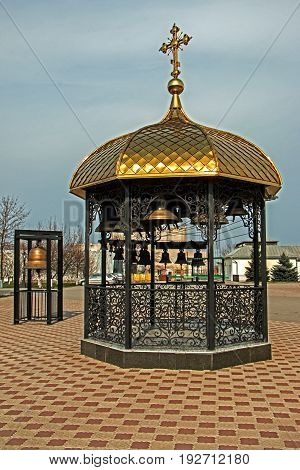 Bell tower near the church place of worship located in Ukraine the city Zaporozhye