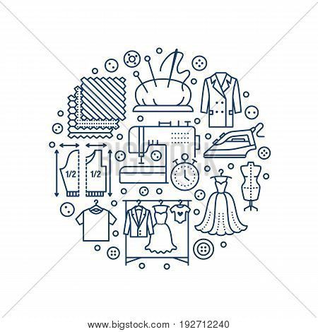 Clothing repair, alterations studio equipment banner illustration. Vector line icon of tailor store services - dressmaking, clothes steaming, suit dress, garment sewing. Atelier circle template.