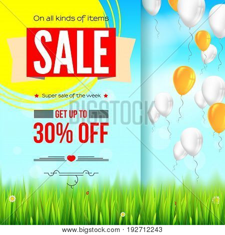 Summer selling ad banner, vintage text design. Thirty percent holiday discounts, sale background with yellow sun, green field, white clouds and blue sky. Template for shopping, advertising.