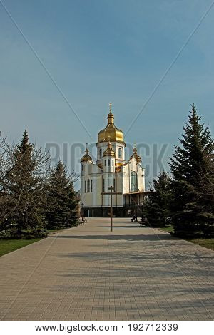 Church with a dome place of worship in a residential area of the city Zaporozhye Ukraine