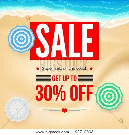 Selling ad banner, vintage text design. Thirty percent summer vacation discounts, sale background of the sandy beach and the sea shore. Template for online shopping, advertising actions.