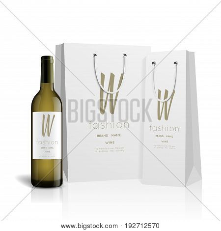 Vector, wine bottle, made in a realistic style. on a white background. It can serve as a layout for future design and Publicity of your product.