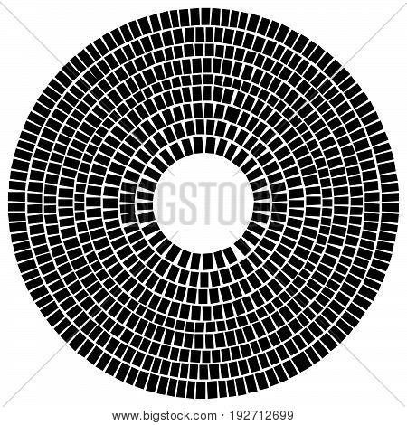 Circle Made Of Rectangles. Irregular Circular Element. Abstract Pavement, Mosaic Shape