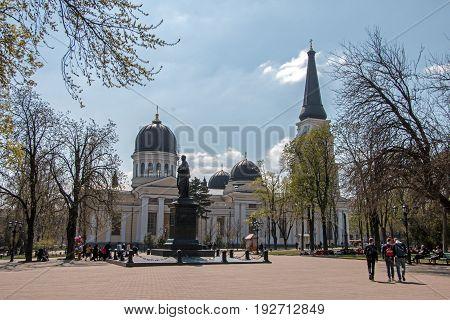 Cathedrale vin monument of graph Vorontsov Cathedral Square Odessa Ukraine.