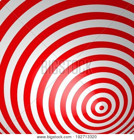 Red volumetric striped background. Concentric circles. Red and white spiral wallpaper. Not trimmed, edges under the mask. Vector illustration.