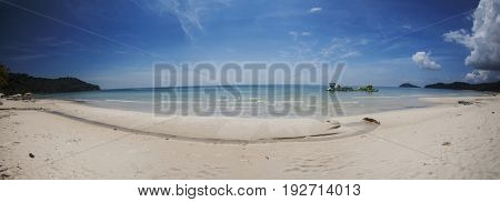 PHU QUOC, VIETNAM - March 21, 2017: Sao Beach - Tropical beach with palm trees, white sand and blue sky on the island of Phu Quoc, Vietnam