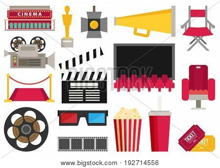 Cinema icons flat. Making film and watch movie in the cinema icons set