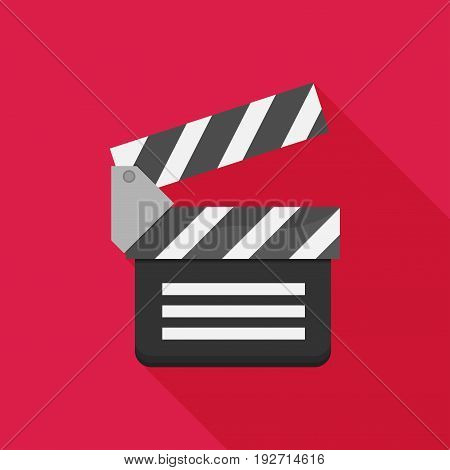 Vector flat clapboard icon with long shadow