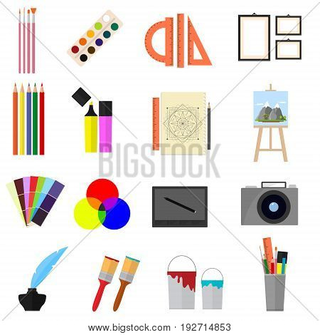 Cartoon Art Color Icons Set Equipment for Artist Painting Tools Flat Style Design. Vector illustration