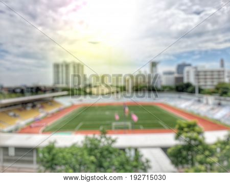 Blurred Image Of Football Stadium With Open Air With Nice Sky.in The City -blur Picture.