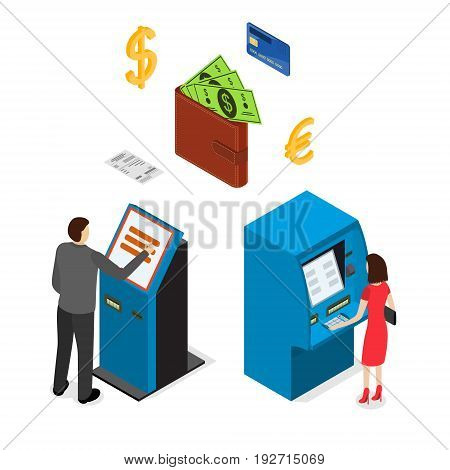 Banking Terminal Service Set Isometric View Business Finance Machine Equipment, Currency, Plastic Card and People. Vector illustration