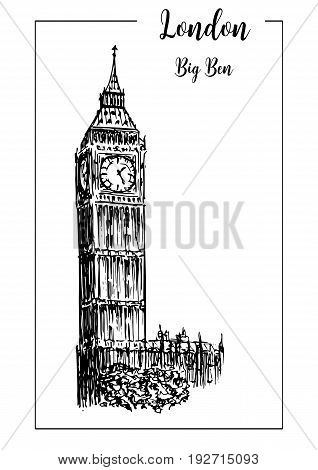 Big Ben or clock tower. London symbol. Beautiful hand drawn vector sketch illustration. For prints textile advertising poster label City panorama tourism advertising booklet brochure postcard