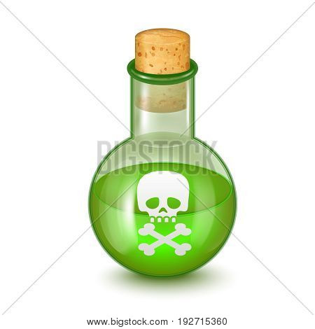 Realistic Detailed Glass Bottle of Green Toxic Poison Symbol of Chemical Danger. Vector illustration