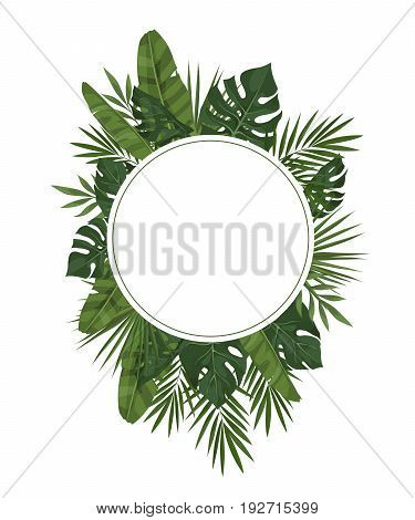 Vector frame of tropical leaves. Trendy summer tropical concept. Element of the jungle for the design of invitations greeting cards etc.