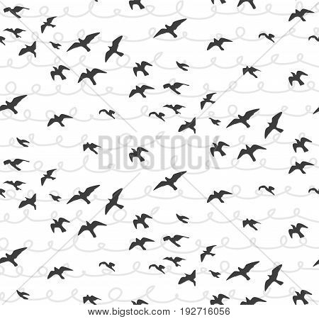 Seagulls abstract seamless pattern. Flying birds Flock gray silhouette. Sea-gull sketch abstract bird. Vector cute design for wrapping paper fabric textile with hand drawn scribble doodle background.