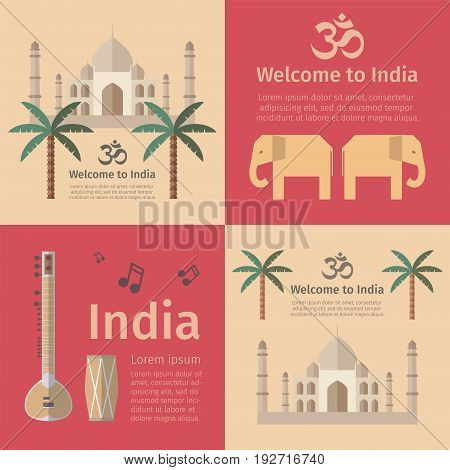 Travel concept posters of India. Vector signs for web graphics.