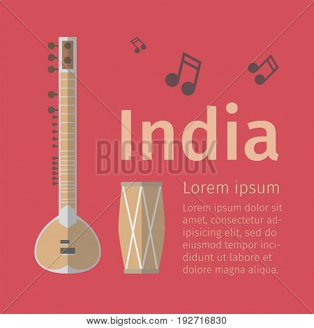 Indian music poster. Flat icon. Vector template
