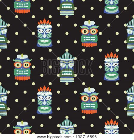 African totem mask seamless polka dot dark pattern vector. Indian ethnic culture colorful background print.