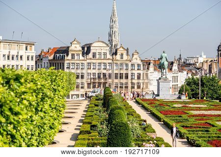 BRUSSELS, BELGIUM - June 01, 2017: Morning view on the Arts Mountain square and beautiful buildings with people walk in Brussels, Belgium