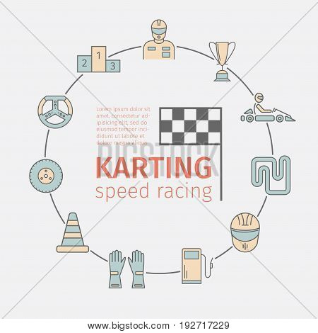 Karting flat icon set. Speed racing signs. Vector illustration.
