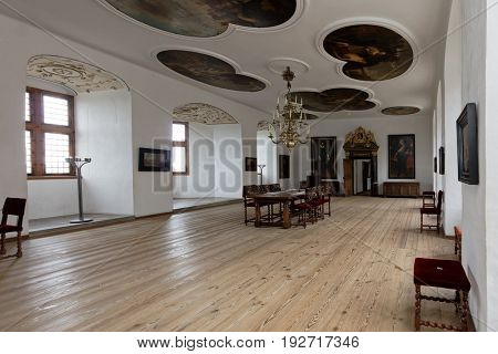 HELSINGOR, DENMARK - NOVEMBER 6, 2016: Interior of Kronborg Castle. Kronborg is one of the most important Renaissance castles in Northern Europe and has been added to UNESCO World Heritage Sites list
