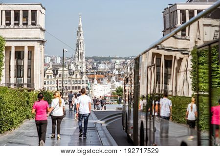 BRUSSELS, BELGIUM - June 01, 2017: People walk on the street on the Arts mountain with great view on the old town of Brussels
