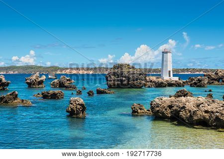 Ramena Madagascar - December 20 2015: View of the Cap Mine Lighthouse also known as Cap Andranomody Lighthouse near Ramena village in the north of Madagascar East African Islands Africa
