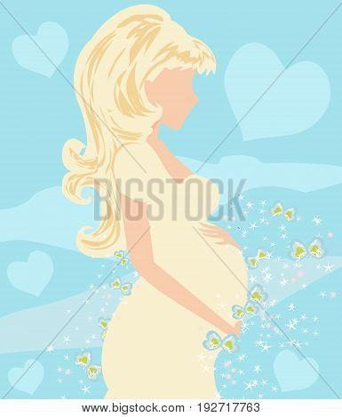 Beautiful pregnant girl card , vector illustration