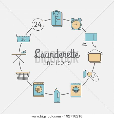 Self-service laundry. Vector signs for web graphics.