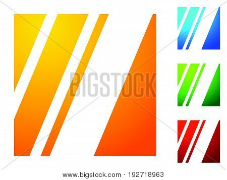 Icon. With Slanting Lines Cut From Square. 4 Bright Color Gradients