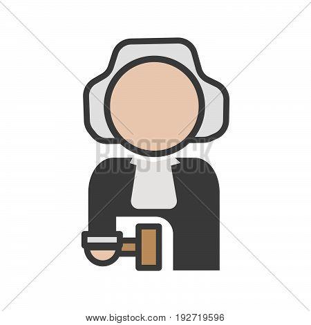 Judge avatar icon on a white background