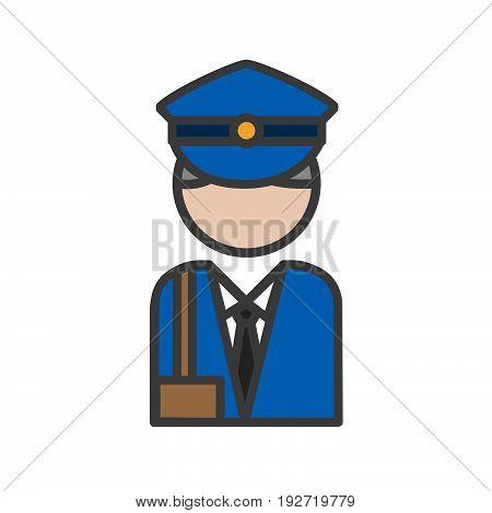 Postman avatar icon on a white background.ai