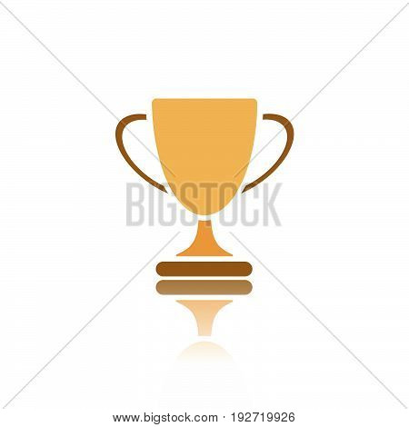 Trophy icon with reflection on white background