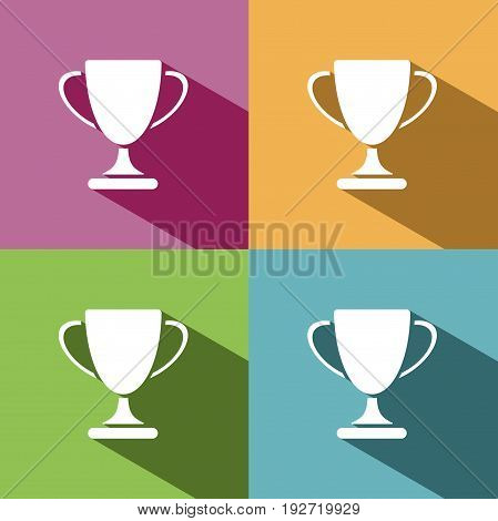 Trophy icon with shadow on colored background