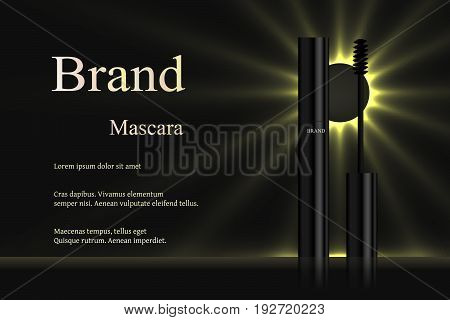 Mascara with eyebrow brush on dark background with rays of light, turnkey design, banner, advertising, cosmetics, brand, 3D vector realistic