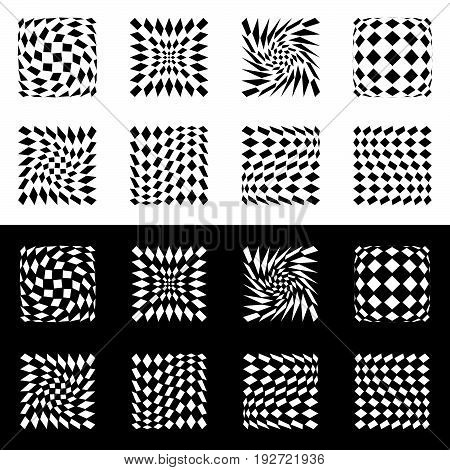 Distorted Mesh, Grid Geometric Element. Set Of 8 Shape In Black And White