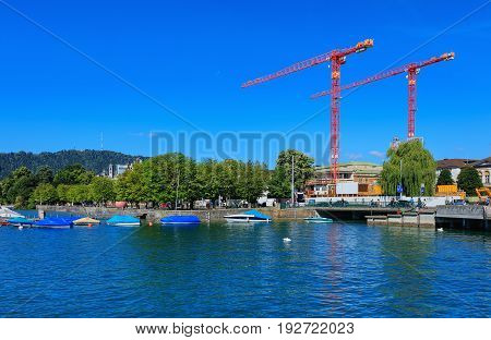 Zurich, Switzerland - 18 June, 2017: embankment of Lake Zurich in the city of Zurich. Lake Zurich is a lake in Switzerland, extending southeast of the city of Zurich, which is the largest city in Switzerland.