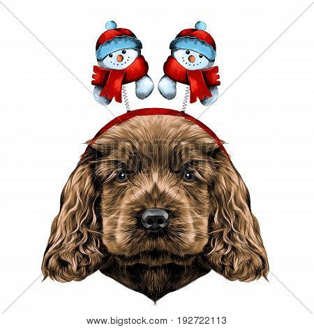 dog breed Cocker Spaniel puppy with Christmas headband on his head with horns and snowmen sketch vector graphics color picture