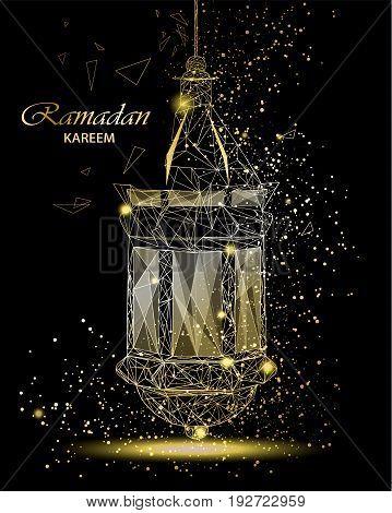 Ramadan Kareem beautiful greeting card with traditional Arabic lantern. Polygonal art on black background. Usable for Eid Mubarak. Stock vector